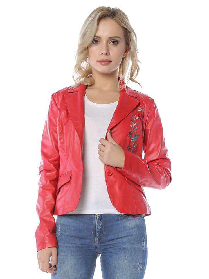 Mangotti Skórzana kurtka w kolorze czerwonym