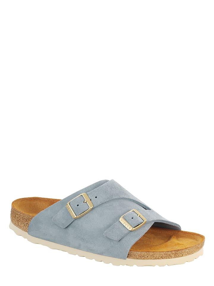 "Birkenstock Leren slippers ""Zürich"" lichtblauw - wijdte S"