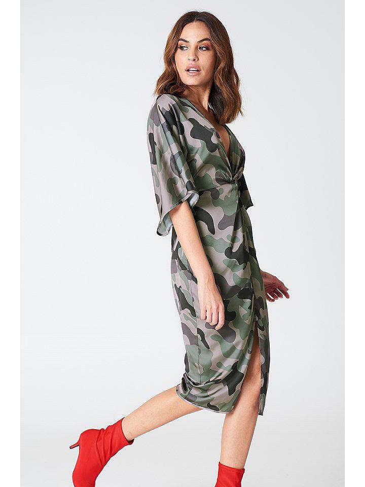 NA-KD Sukienka w kolorze oliwkowo-szaro-brązowym