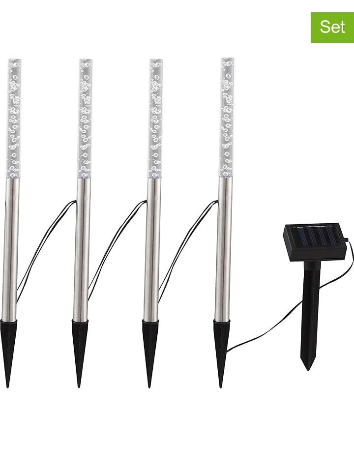 Globo lighting Ogrodowe lampy solarne LED (4 szt.) w kolorze srebrnym - wys. 48 cm