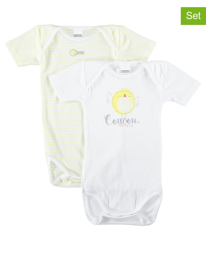 Absorba - Lot de 2  bodies - blanc jaune  8d97f1cc1cb