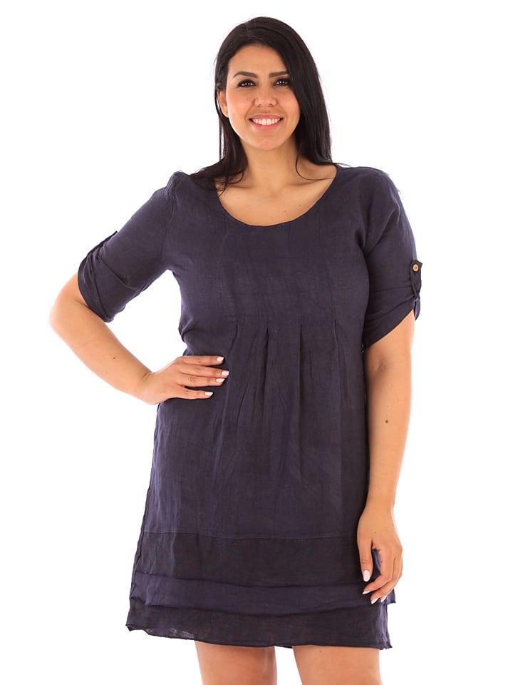 """Linen Curve Lniana sukienka """"Pisa"""" w kolorze granatowym"""