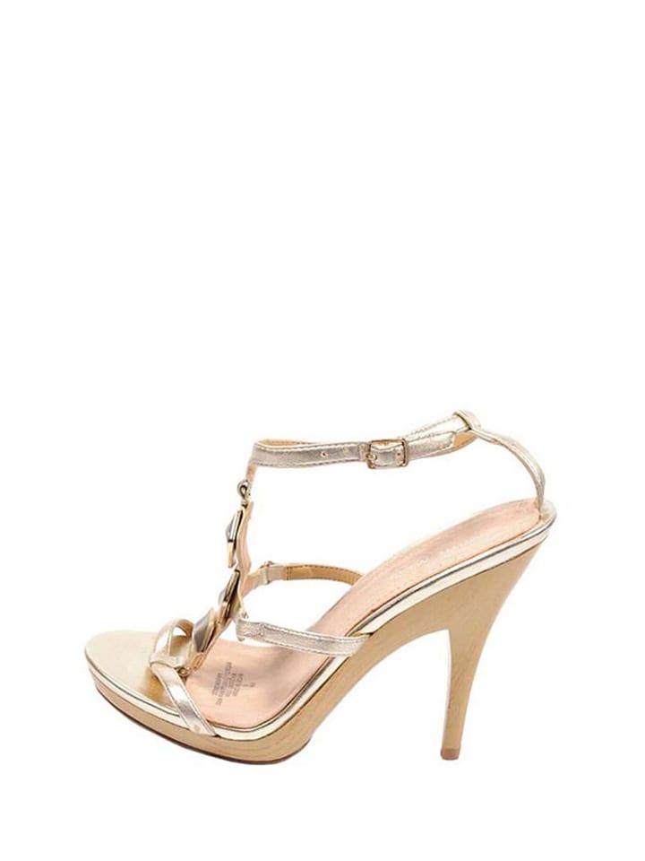 bbe254038303d Skórzane sandały w kolorze złotym - Nine West - Wyprzedaż w Outlet ...