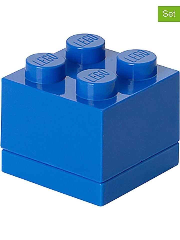 """LEGO 2-delige set: lunchboxen """"Mini 4"""" blauw - (B)4,6 x (H)4,3 x (D)4,6 cm"""