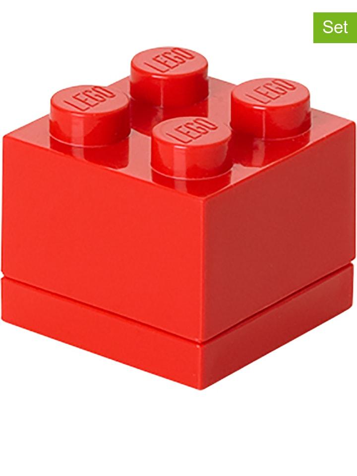 """LEGO 2-delige set: lunchboxen """"Mini 4"""" rood - (B)4,6 x (H)4,3 x (D)4,6 cm"""