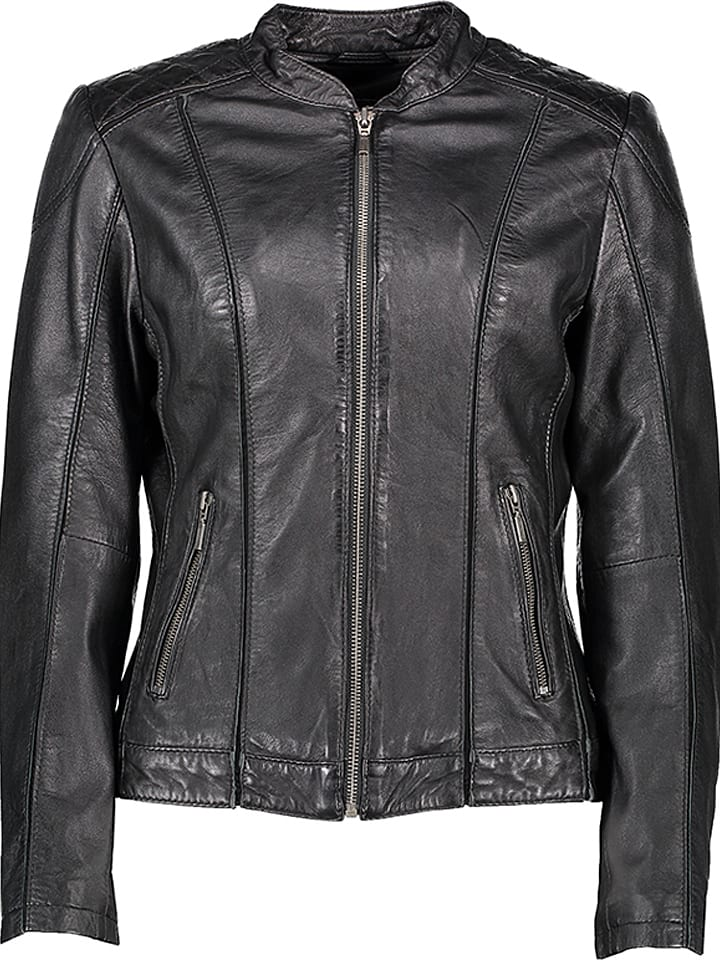 7eleven Skórzana kurtka w kolorze czarnym