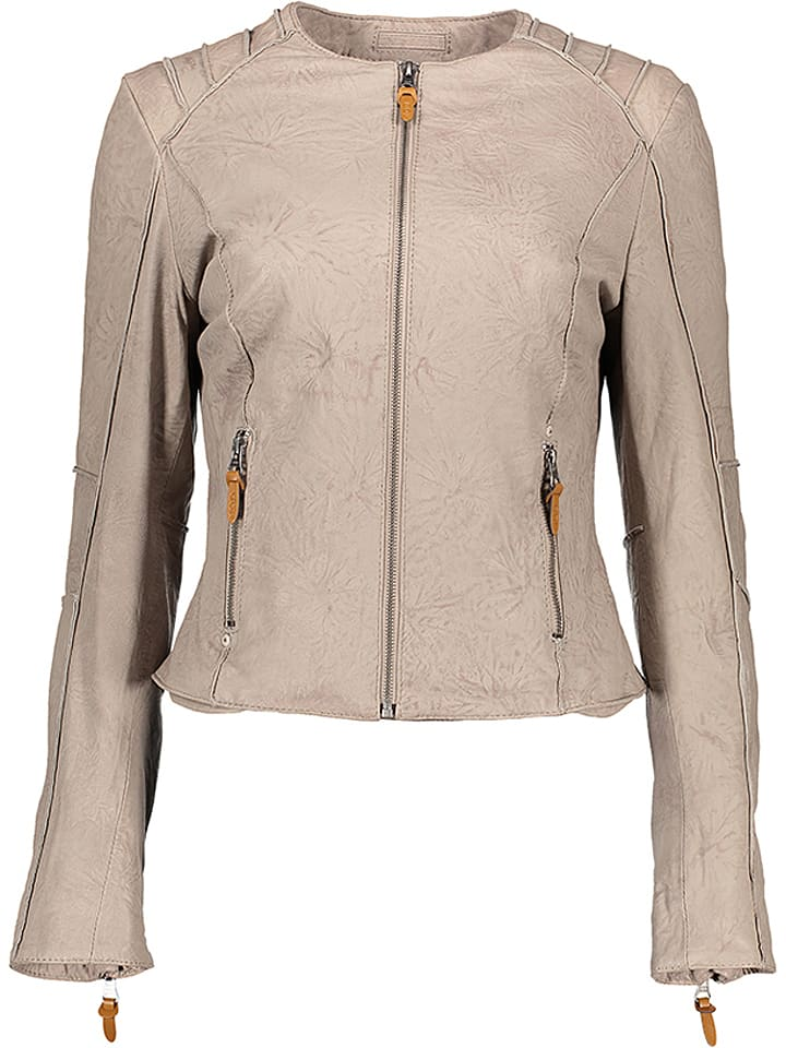 M.O.D Skórzana kurtka w kolorze jasnoszarym
