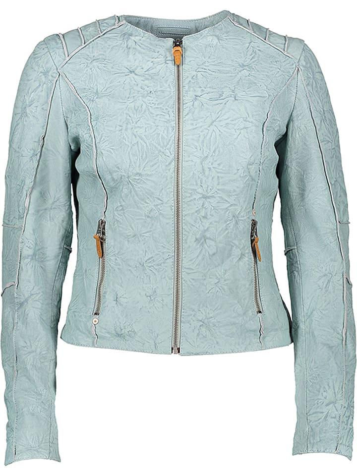 M.O.D Skórzana kurtka w kolorze błękitnym