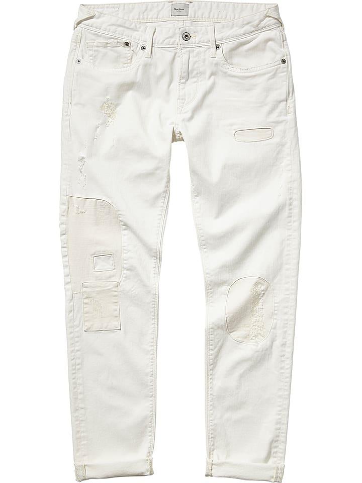 """Pepe Jeans Dżinsy """"Hatch Destroy"""" - Slim fit - w kolorze białym"""
