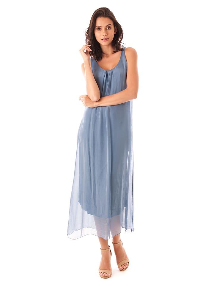 100% Soie Sukienka w kolorze niebieskim