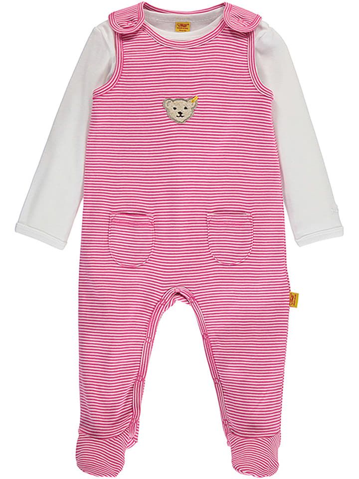 Steiff 2tlg. Outfit in Pink/ Weiß
