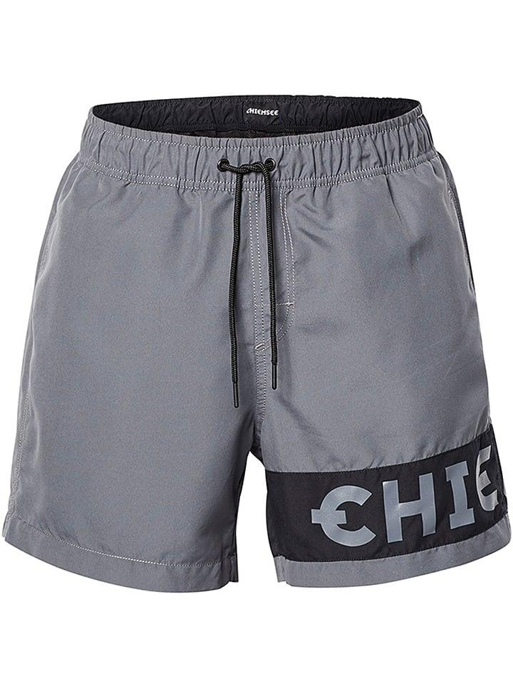 """Chiemsee Szorty kąpielowe """"Logo"""" w kolorze szarym"""