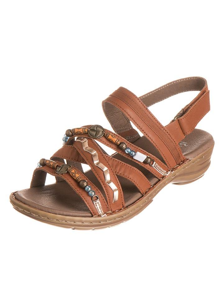 "Ara Shoes Leder-Sandalen ""Hawaii"" in Hellbraun"