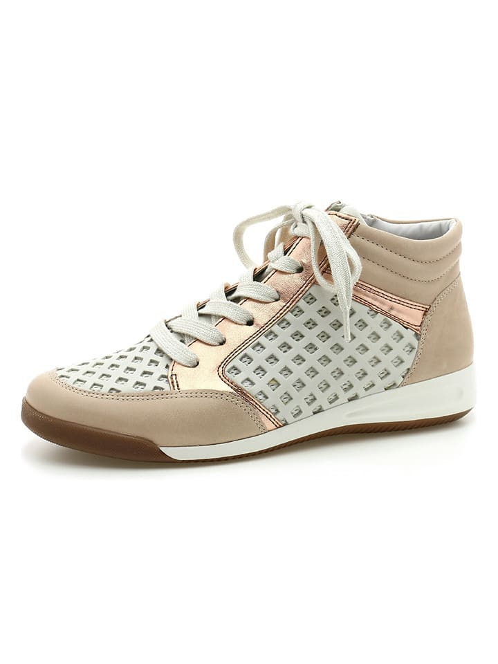 "Ara Shoes Leder-Sneakers ""Rom"" in Weiß/ Beige"
