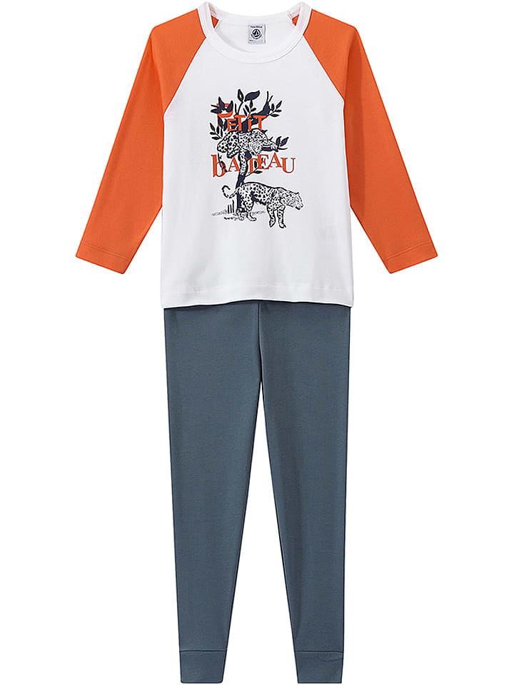 PETIT BATEAU Pyjama in Grau/ Weiß/ Orange