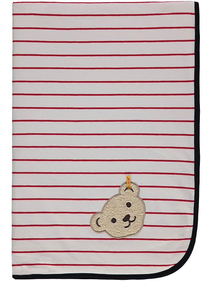 Steiff Koc w kolorze biało-czerwonym - 95 x 65 cm