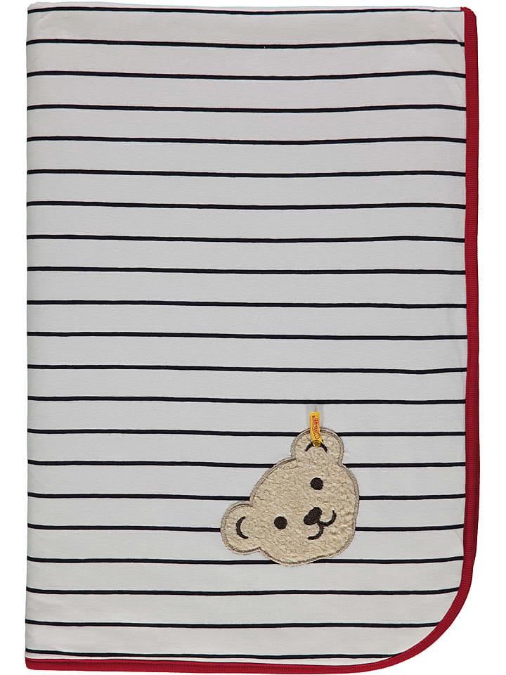 Steiff Koc w kolorze biało-granatowym - 95 x 65 cm