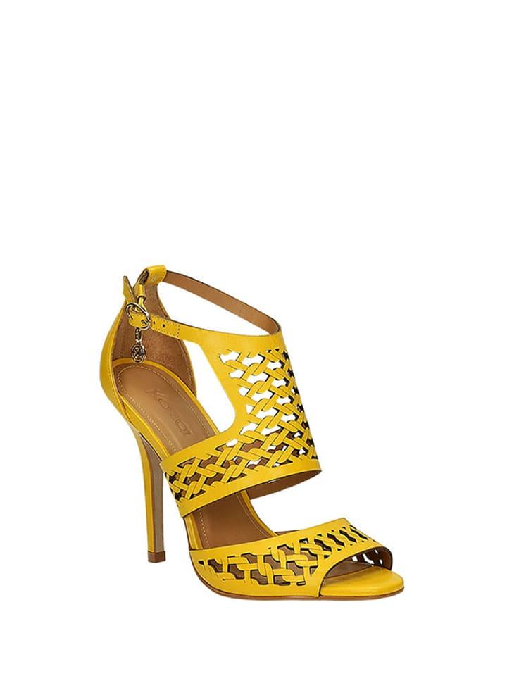 d5a9f1dd Skórzane sandały w kolorze żółtym - Kazar - Wyprzedaż w Outlet Limango
