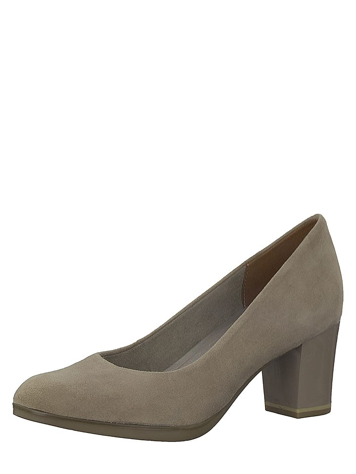 Marco Tozzi Leder-Pumps in Taupe