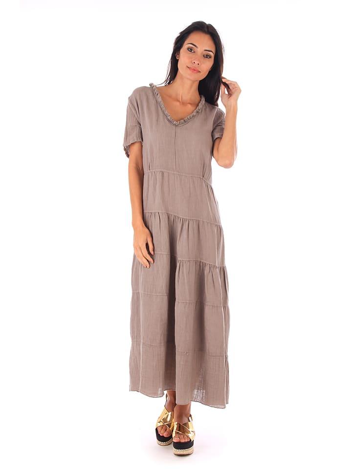 100% Leinen Lniana sukienka w kolorze szarobrązowym