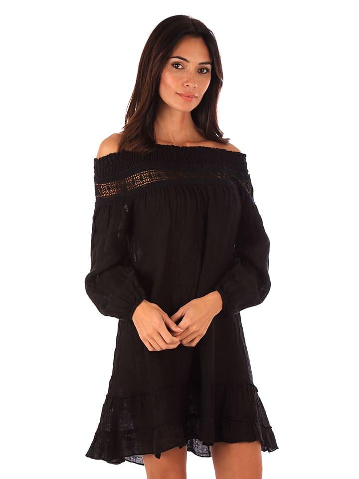 Maison du Lin Lniana sukienka w kolorze czarnym