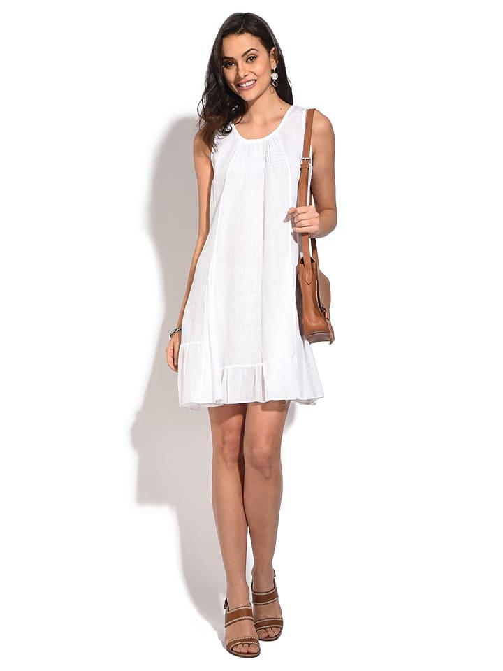 William de Faye Lniana sukienka w kolorze białym