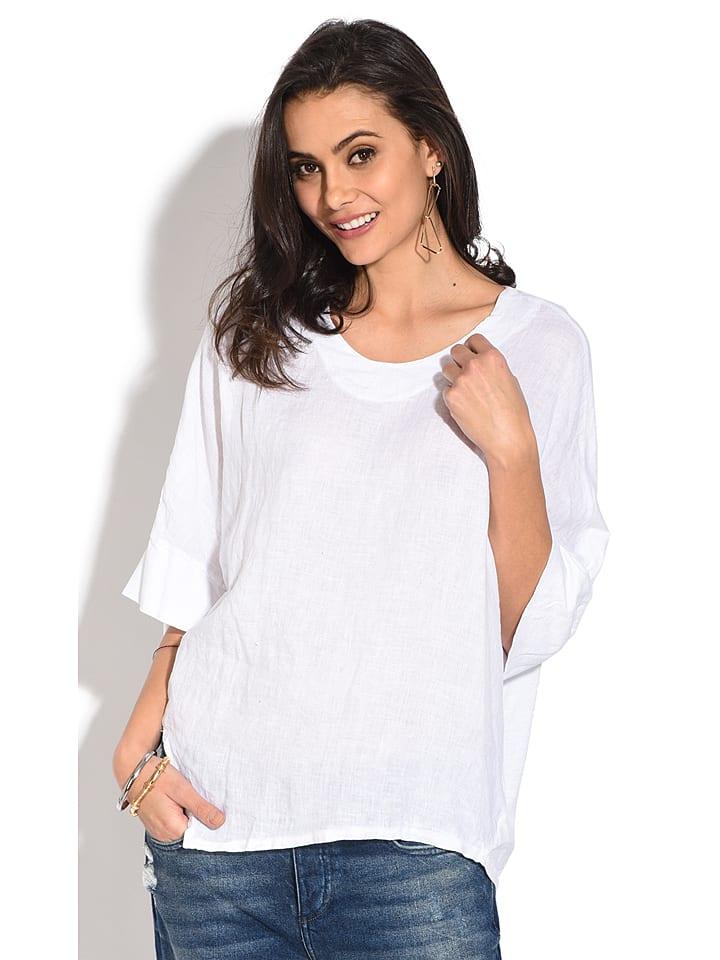 Le Jardin du Lin Lniana koszulka w kolorze białym