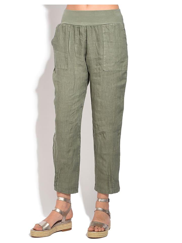William de Faye Lniane spodnie w kolorze khaki