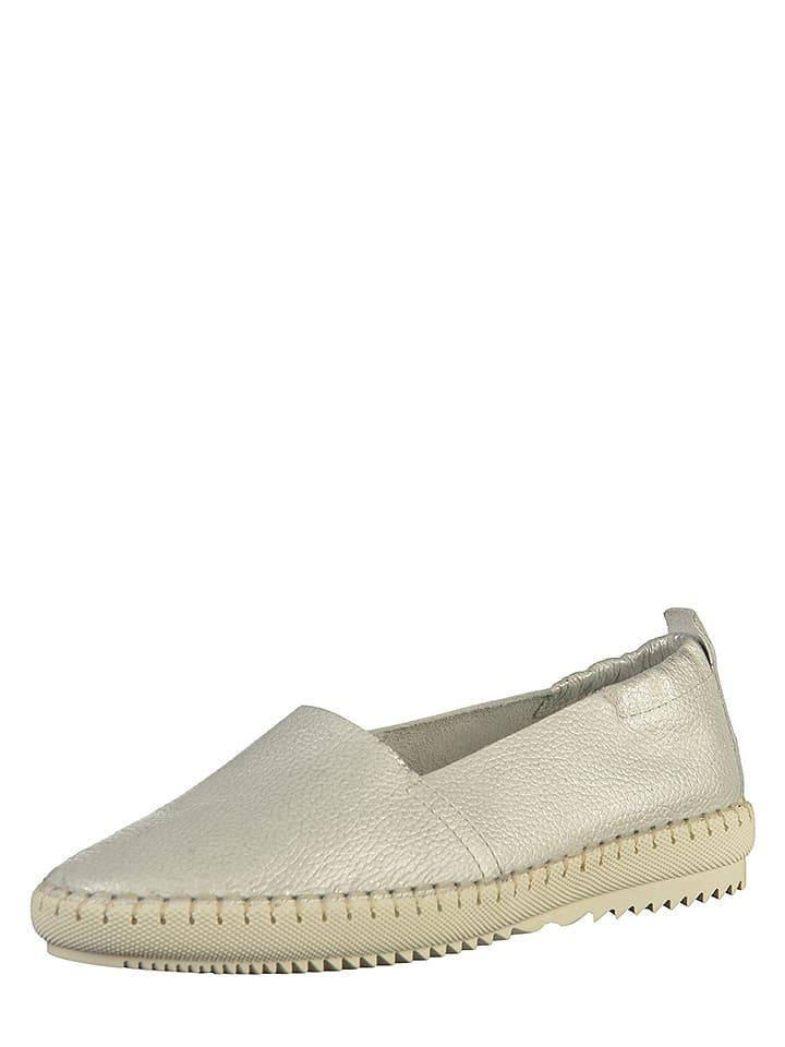 Tamaris Skórzane slippersy w kolorze srebrnym