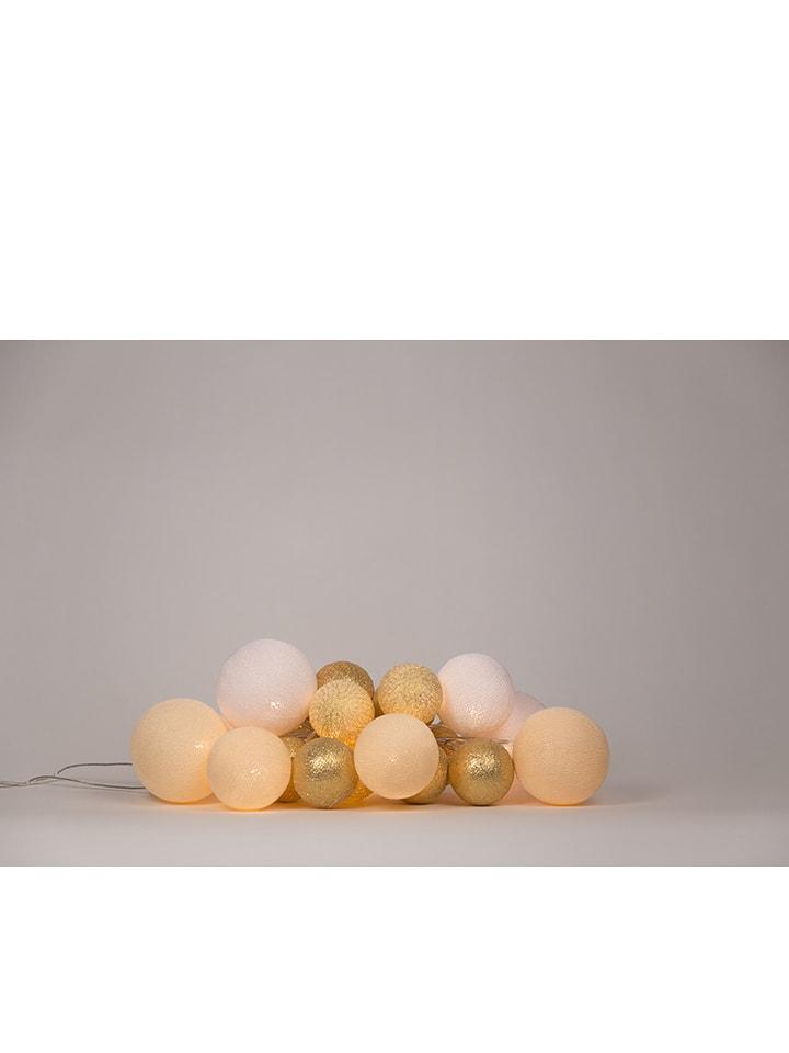 Cotton Ball Lights Dekolichterkette in Gold/ Beige - (L)264 cm