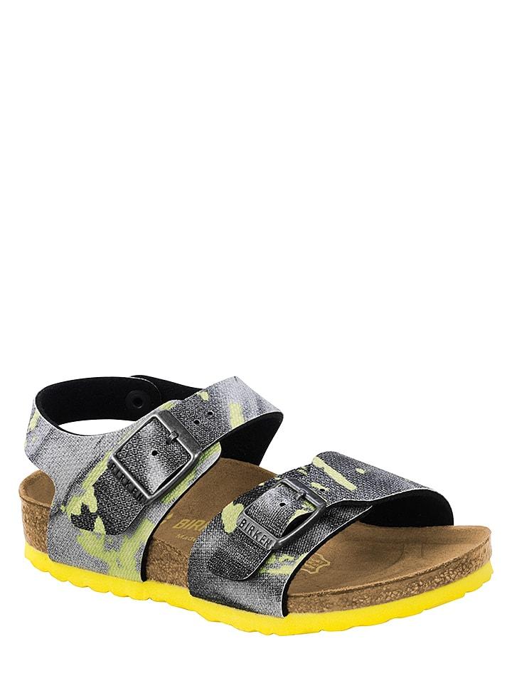 """Birkenstock Sandalen """"New York"""" antraciet/geel - wijdte N"""