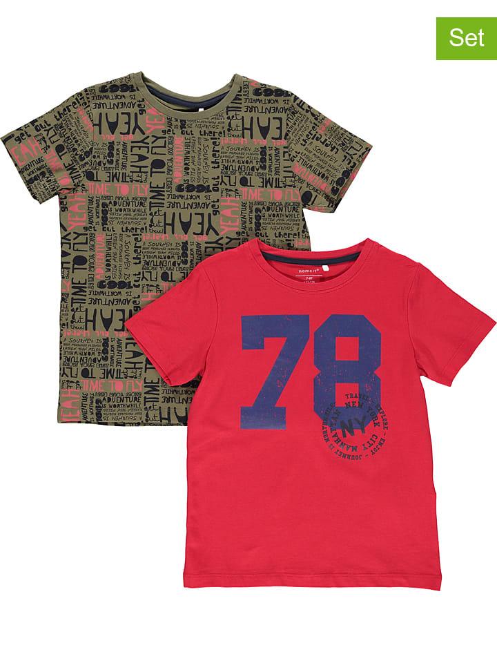 """Name it Koszulki (2 szt.) """"Ted"""" w kolorze czerwonym i khaki"""