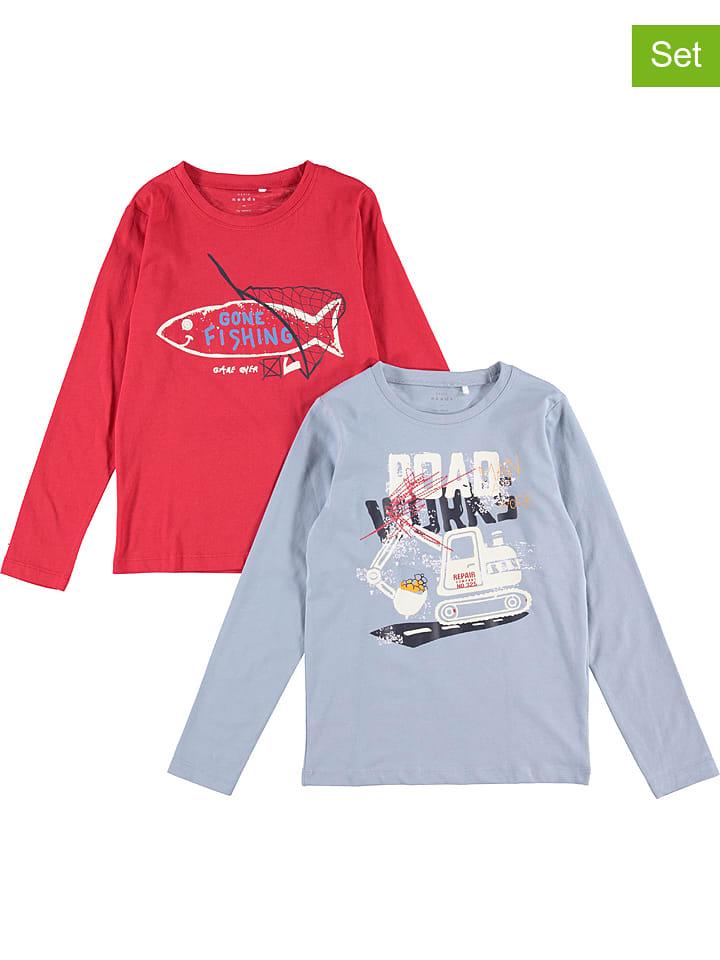 """Name it Koszulki (2 szt.) """"Victor"""" w kolorze niebieskim i czerwonym"""