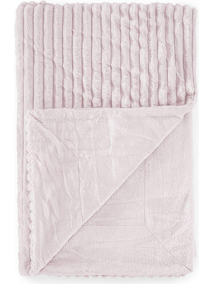 """Tanuki Koc """"Rayas"""" w kolorze jasnoróżowym z mikrowłókna - 110 x 80 cm"""
