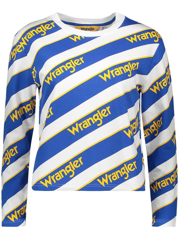 Wrangler Sweter w kolorze niebiesko-białym