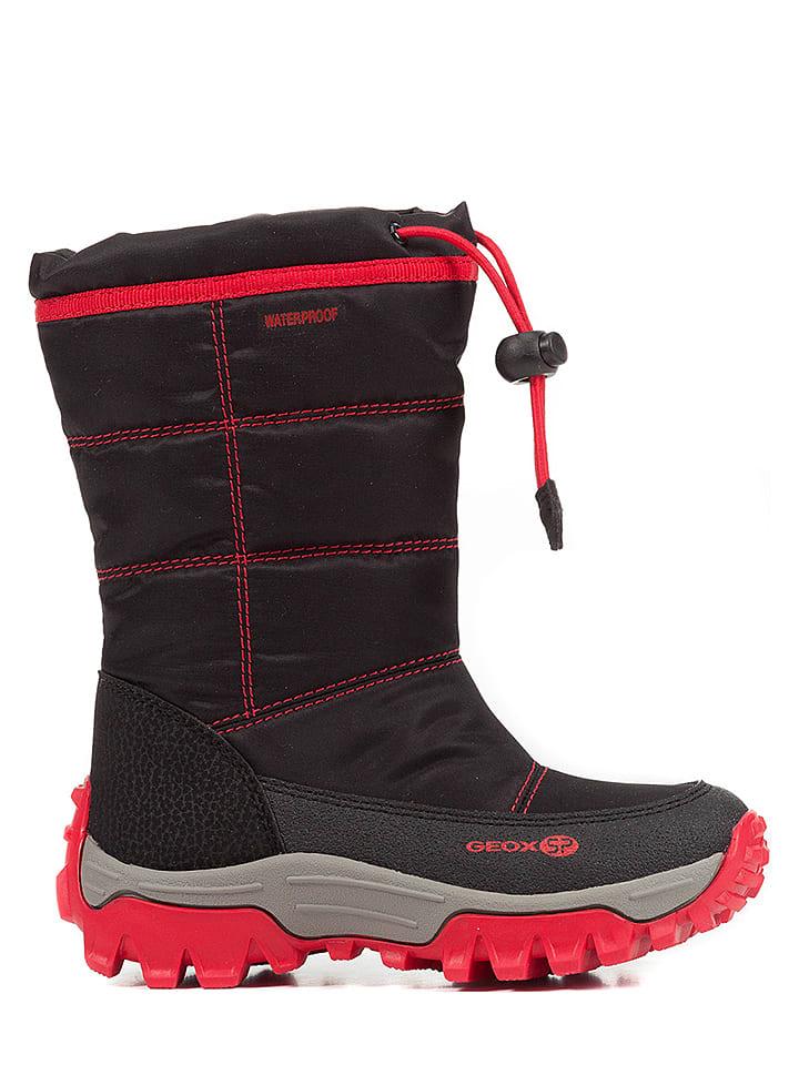 """Geox Kozaki zimowe """"Himalaya"""" w kolorze czerwono-czarnym"""