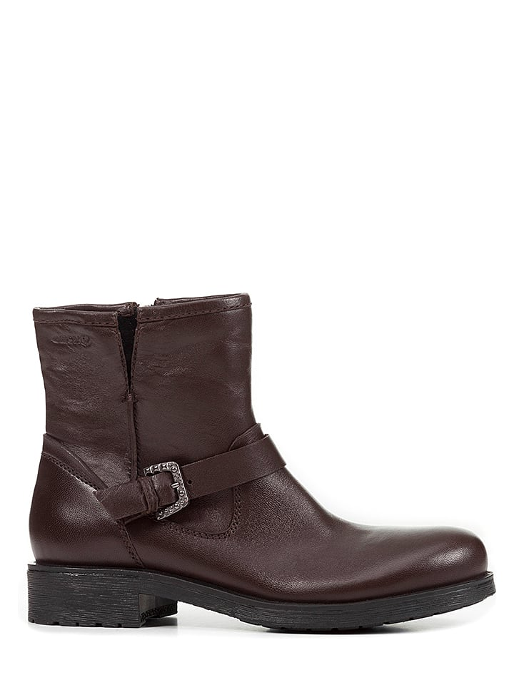 Geox Leder-Ankle-Boots in Braun