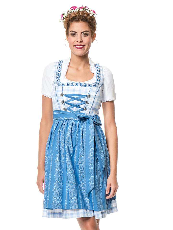 "LEKRA Mini-Dirndl ""Gale"" in Hellblau/ Weiß/ Blau"