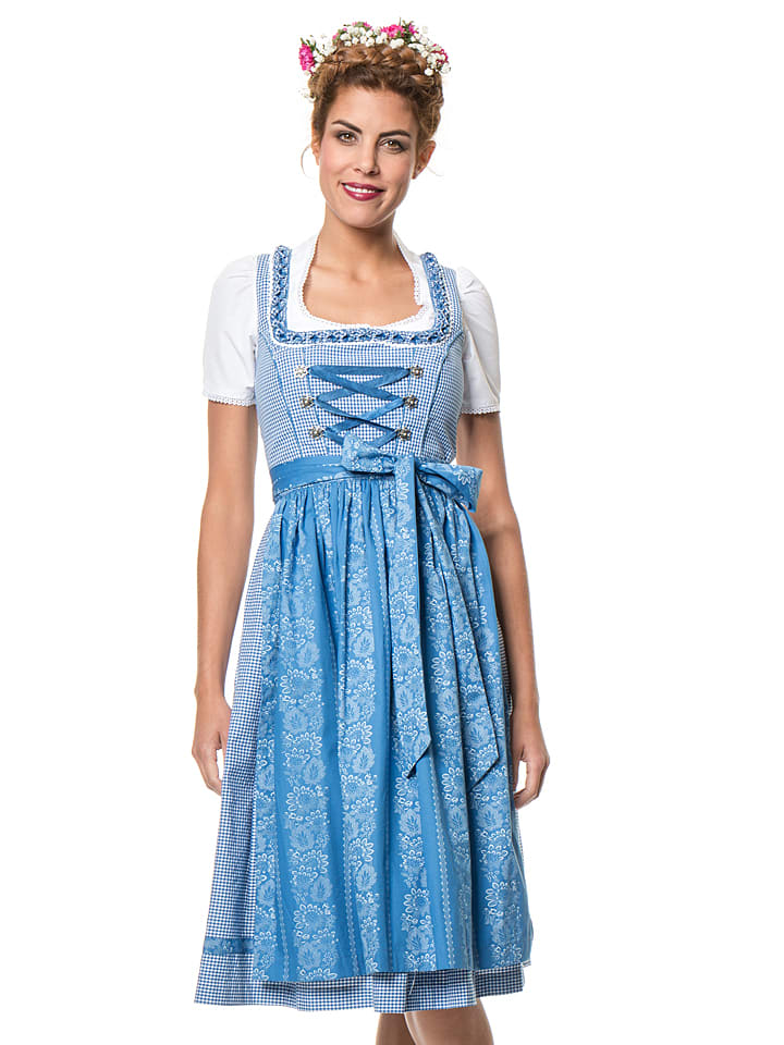 """LEKRA Midi-Dirndl """"Fronlach"""" in Blau/ Weiß"""