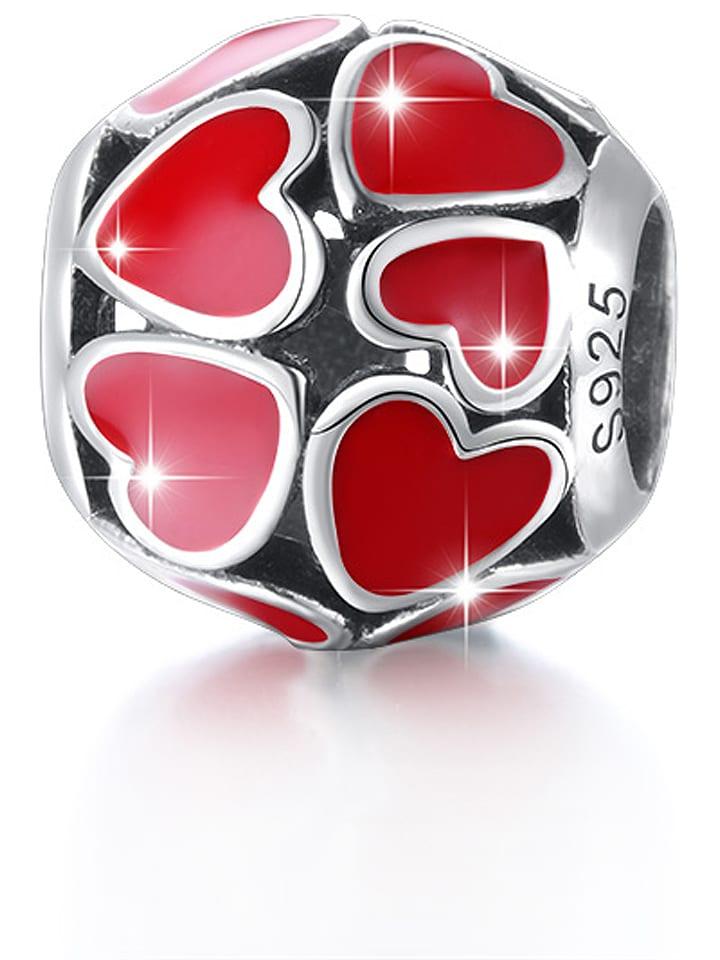 """MAISON D'ARGENT Srebrny koralik """"Hearts"""" w kolorze czerwonym"""