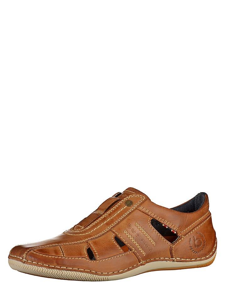Bugatti Skórzane slippersy w kolorze brązowym