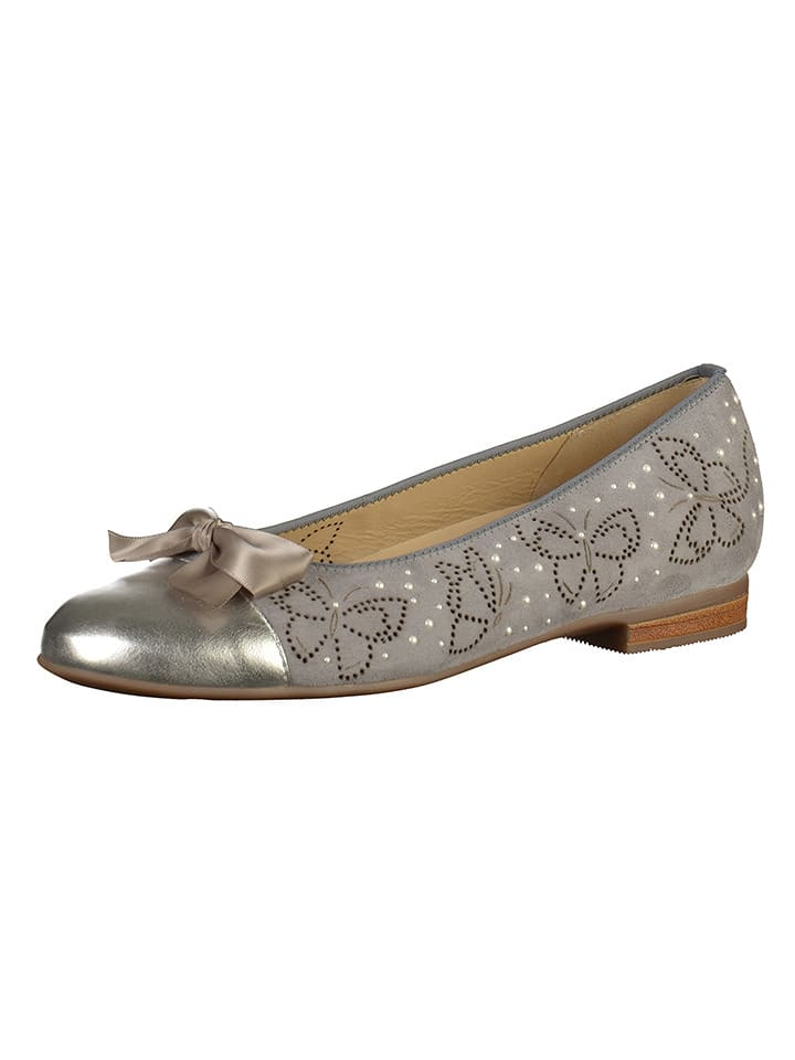 Ara Shoes Leder-Ballerinas in Grau