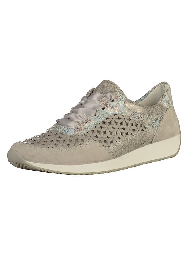 Ara Shoes Leder-Sneakers in Grau/ Silber