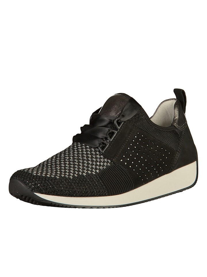 Ara Shoes Leder-Sneakers in Schwarz/ Silber