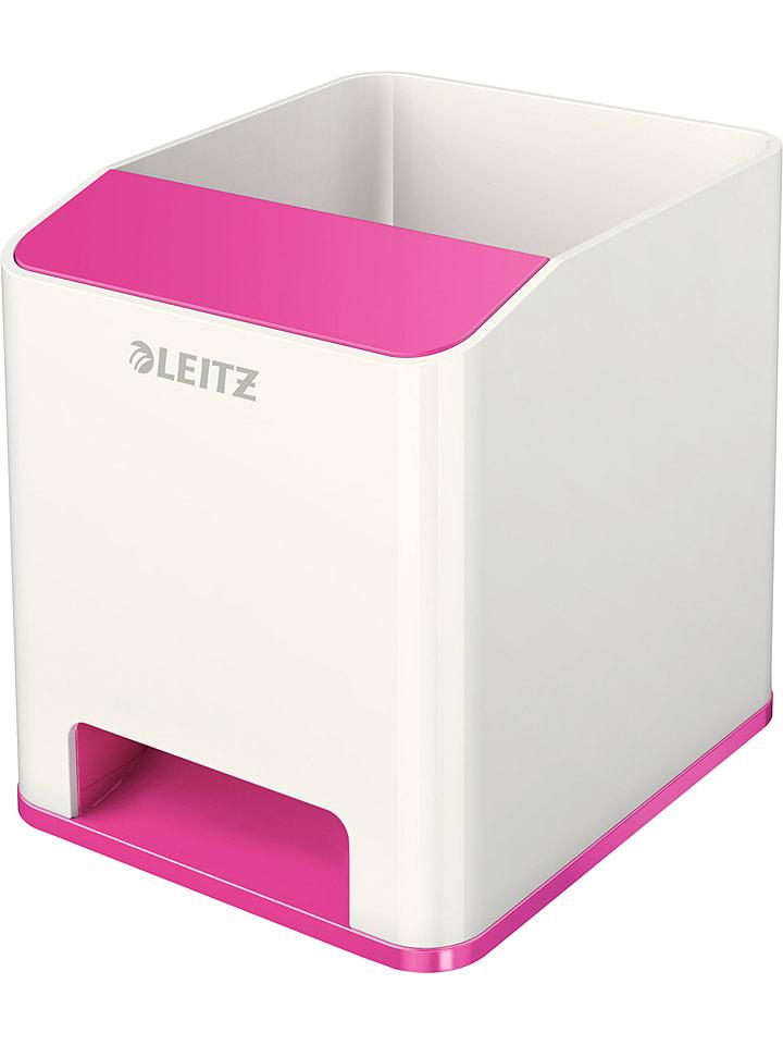 """Leitz Pojemnik """"Wow"""" w kolorze biało-różowym na przybory - 9 x 10 x 10,1 cm"""