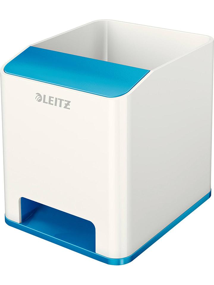 """Leitz Pojemnik  """"Wow"""" w kolorze biało-niebieskim na przybory- 9 x 10 x 10,1 cm"""