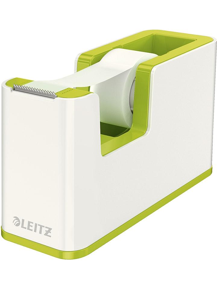 """Leitz Klebebandabroller """"Wow"""" in Weiß/ Grün - (B)12,6 x (H)7,6 x (T)5,1 cm"""