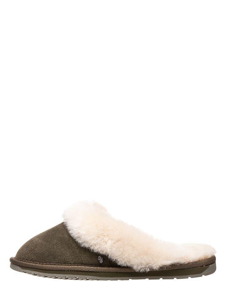 EMU Leren pantoffels kaki