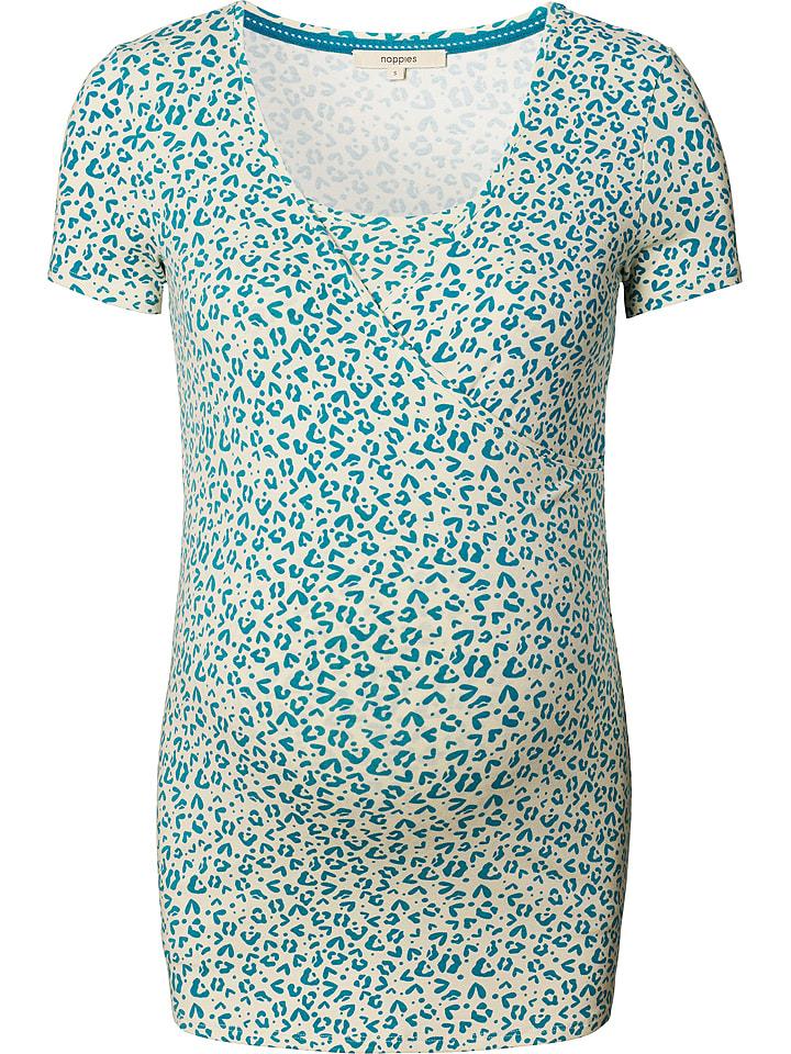 """Noppies T-shirt de maternité avec fonction allaitement """"Bliss"""" - crème/bleu pétrole"""