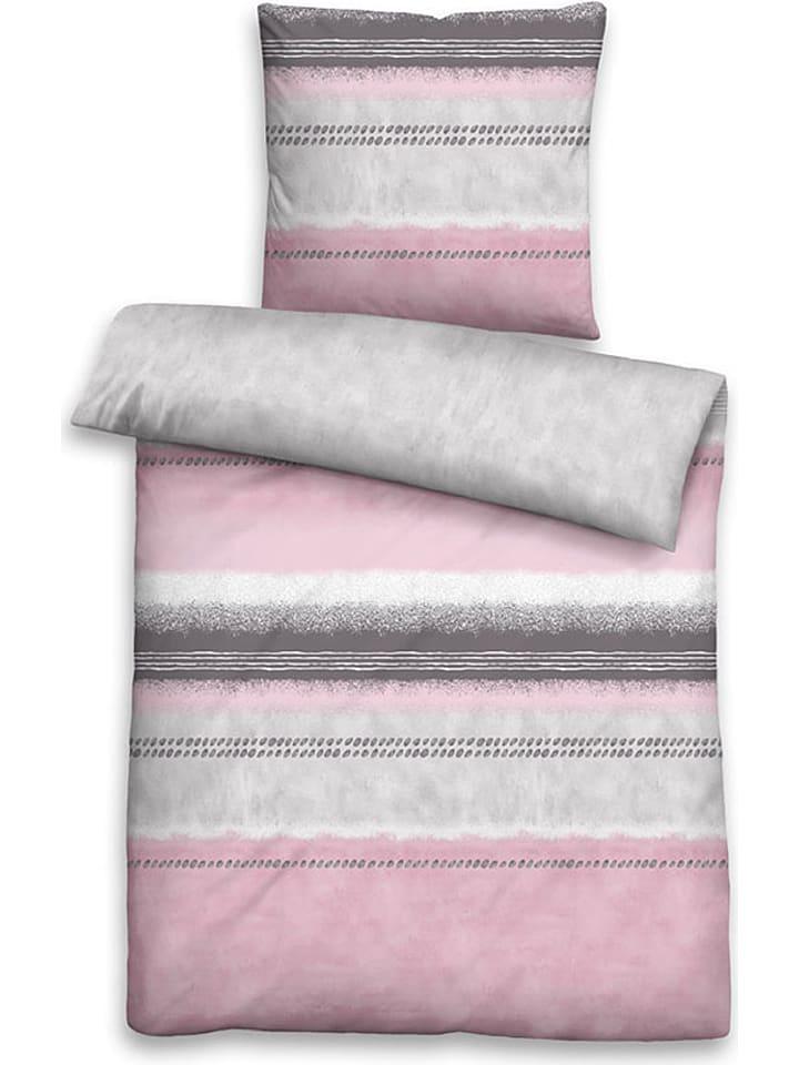 Biberna Mako-Satin-Bettwäsche-Set in Rosa/ Grau